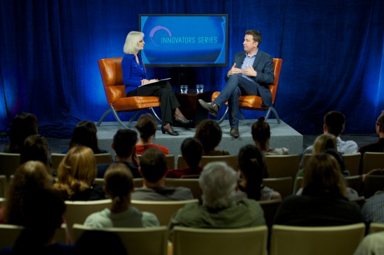 Bridget Grogan, WUFT assistant news editor, interviews Mark Little as part of the University of Florida J-school's Innovator Series.