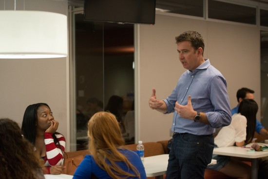 Mark Little challenged University of Florida Journalism students to come up with solutions to the ethical dilemma's surrounding user generated content. Photo by Steve Johnson.