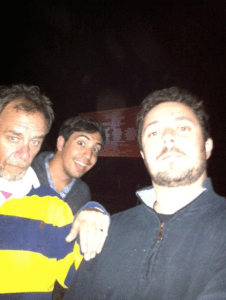 At the drive-in, with David and James Del.