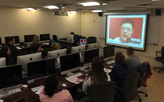 Meeting with students via Google Hangouts. Photo by Scott Lituchy.
