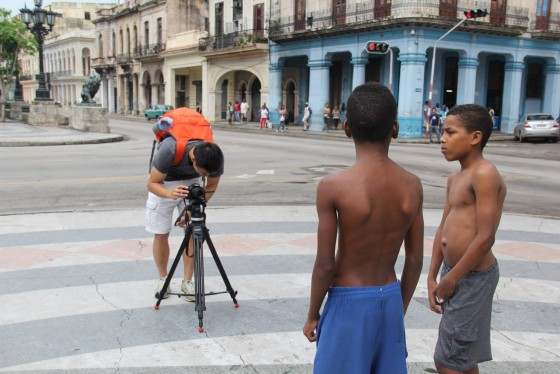 "Marc Wai, a junior at Washington State University, filmed in the streets of Havana, Cuba, last May. The students agreed to a ""social media blackout"" during their 12-day tour of Cuban news outlets, but recorded their experiences. Photo by Tesia Lingenfelter."