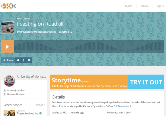 UM student Madelyn Beck's story on roadkill on PRX.