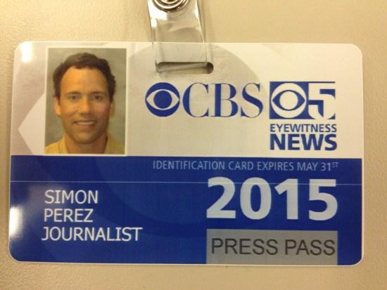 KPIX TV press pass. (Simon Perez photo)