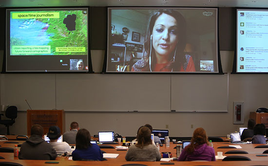 Aurelia Moser, a map scientist with CartoDB, leads a webinar during TechConnect 2015, held at Kent State University in April. Photo by Susan Zake