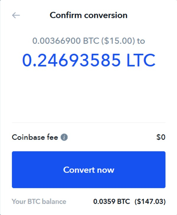 Coinbase confirm conversion page.