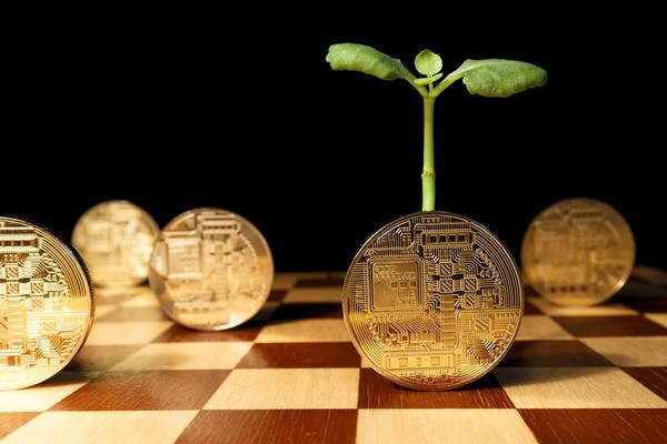 Chessboard with gold bitcoins standing up on their edge.