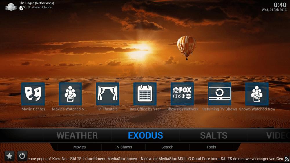 Exodus in hoofdmenu