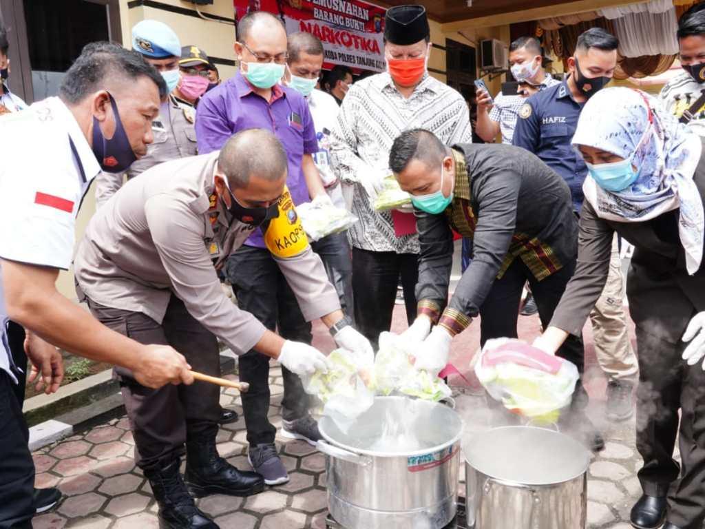 Polres Tanjungbalai Musnahkan 6,29 Kg Sabu dan 43 Butir Pil Ekstasi