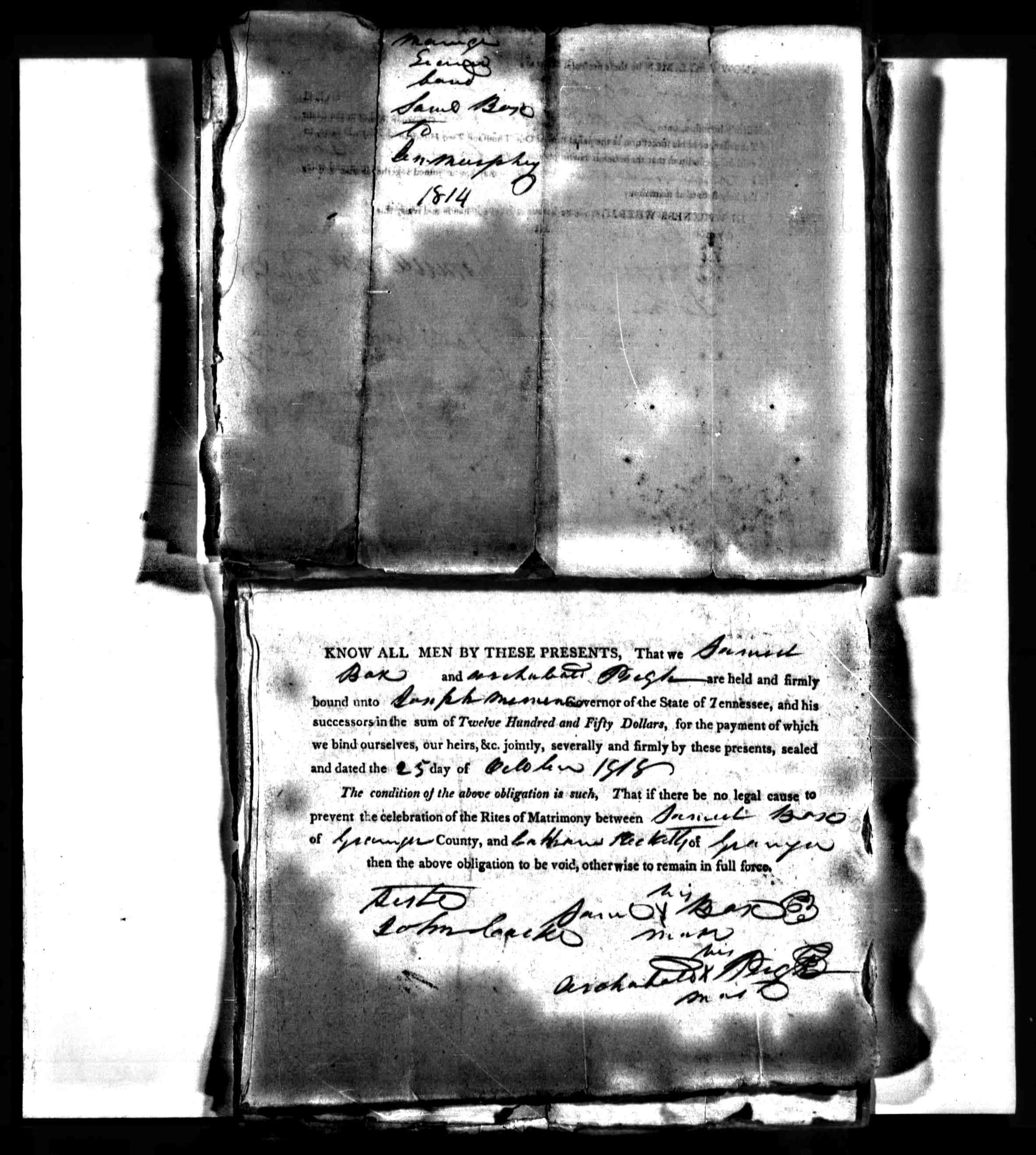 1814 marriage bond for Samuel Pleasant Box, Jr and Jemima Murphy