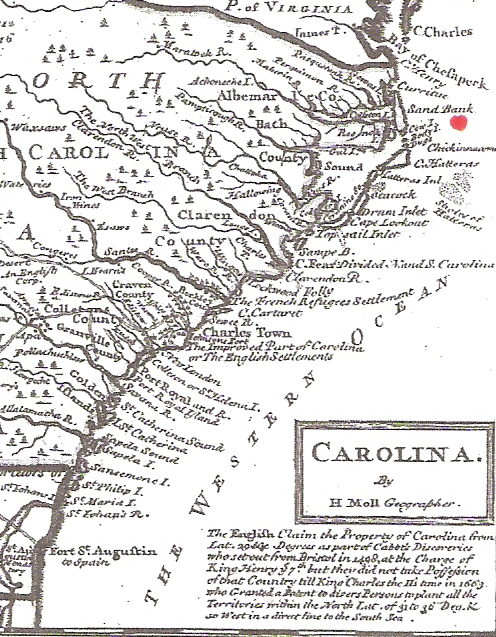 Map of Carolinas 1740