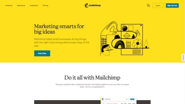 Capture d'écran du site Web de Mailchimp, avec des titres à la deuxième personne et un accent sur le parcours de l'utilisateur
