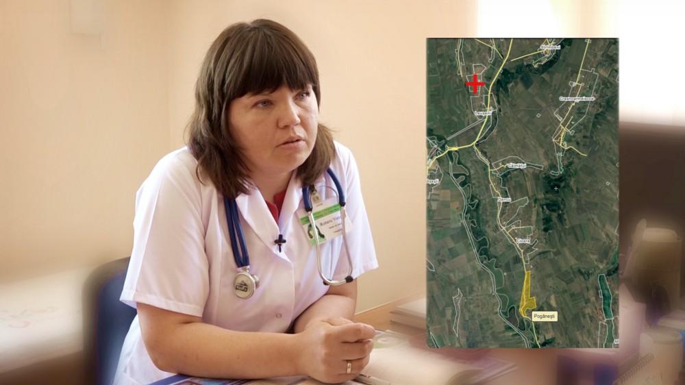 Victoria Rotaru, medic de familie, șefa Centrului de sănătate Cotul Morii, din raionul Hâncești explică cum face naveta în fiecare zi în satele pe care le are în gestiune Centrul de Sănătate , 5 august 2017 (editare poză: Igor Rotari)