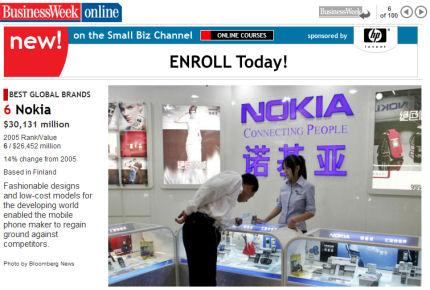 Nokia on edelleen maailman 6. arvokkain brändi, kertoo Businessweek