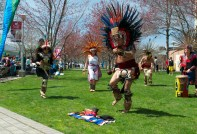 Javier Vera, part of a traveling dance troupe from Mexico City, brought his Aztec culture to Stony Brook University's Earthstock festival. Photo by Trevor Christian. (April 25, 2014)