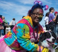 Copiague, NY – Sydney Ballard of Bayshore, NY came to the Long Island Pet Expo in the Park at Tanner Park in Copiague with her dog for the costume contest. Unfortunately they came a day late for the contest, but enjoyed the other events at the expo on September 14, 2014.