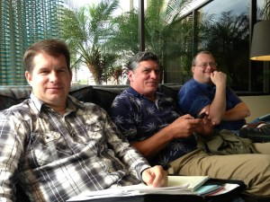 From left, Derrick DePledge, local vice-president Pacific Media Workers-Hawaii; Gregg Hummer, advertising; and Colin Stewart, newsroom. Not pictured: Heather Ahue, Hawaii business manager. Photo by Carl Hall 2013