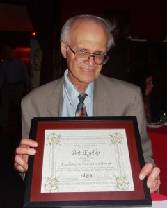 Bob Egelko with Excellence in Journalism Award from NLGJA. Photo courtesy Bob Egelko 2013.