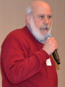 "Richard ""Rick"" Knee, Local 39521 VP-CA, speaks at a recent membership meeting. Photo by Steve Stallone/freelance unit 2014."