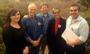 Guild members (l to r) Lucia Fernandez, Paul Hersh, Phillip Molnar, Claudia Melendez Salinas and James Herrera turned in the signatures to publisher Gary Omernick. Photo courtesy Guild member 2014.