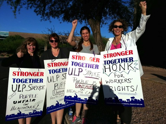 ASLIU members in Arizona show their solidarity in the early morning of May 5, 2014 during the union's ULP strike against Purple Communications - a coordinated event in 3 states.  Photo courtesy CWA staff 2014.