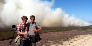 Monterey Herald unit members, Phil Molnar and Dave Royal, are pictured here covering a massive controlled burn on Fort Ord in summer 2013.  Molnar and Royal's work has been recognized in the 2014 California Newspaper Publishers Association Better Newspaper Contest!  Awards night is May 9.  (Photo courtesy Phil Molnar.)