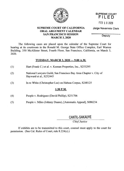 March 3rd Oral Arguments on FOI Case, NLG Bay Area Chapter vs. the City of Hayward