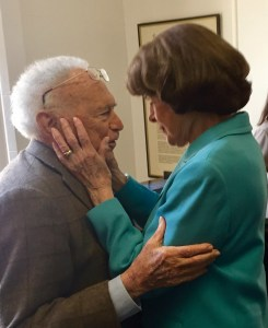 Dianne Feinstein with David Perlman at his retirement party in 2017. Photo taken by Steve Rubenstein