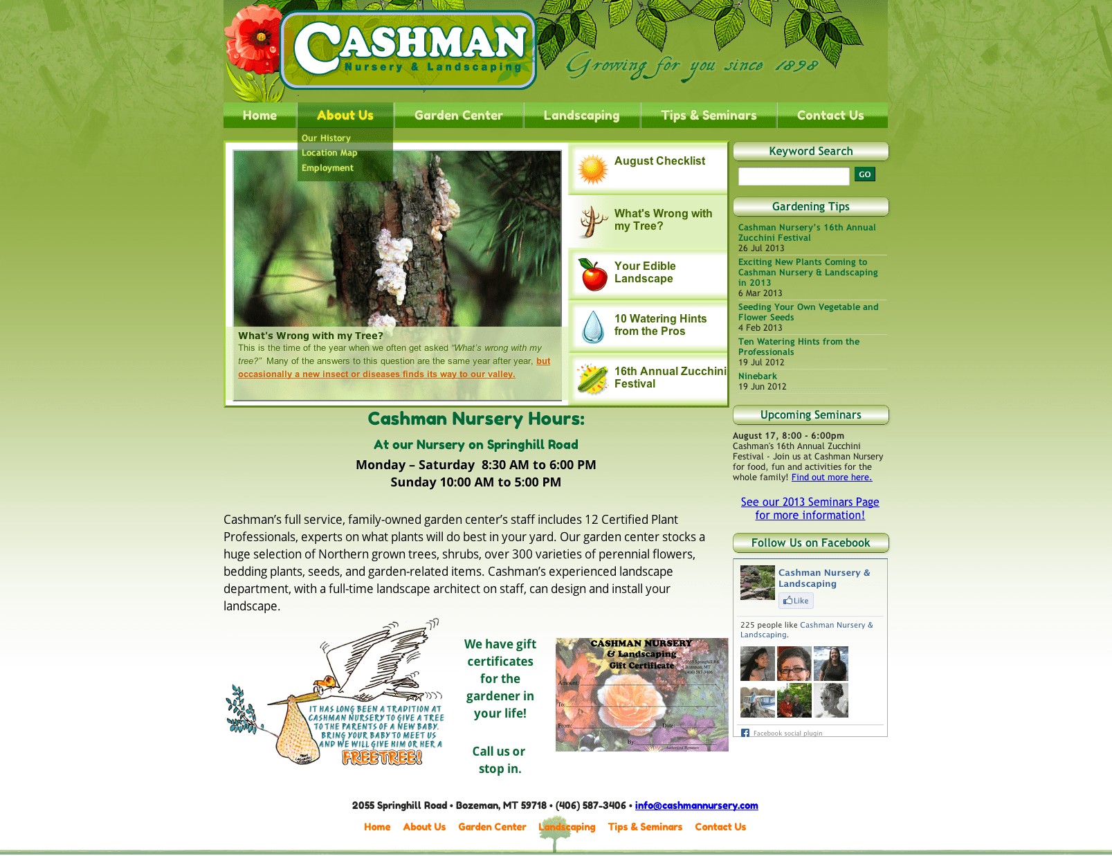 cashman nursery bozeman website design and development
