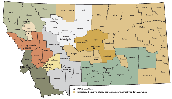 Map Illustration And Design For Montana PTAC Media Works LLC - Montana county map