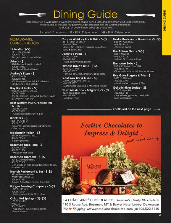 Bozeman Restaurant Listing Graphic Design