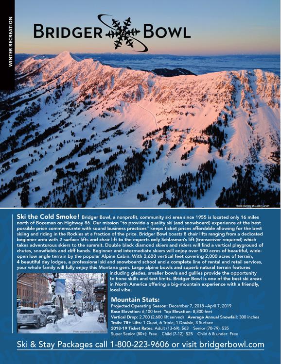 Bozeman Skiing Magazine Ad Page Graphic Design