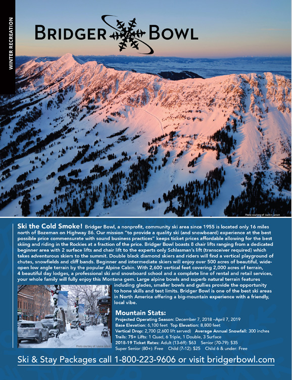 Bozeman Skiing Magazine Ad Page Graphic Design