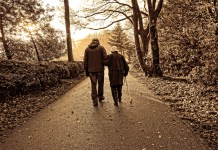 Old couple walking in park