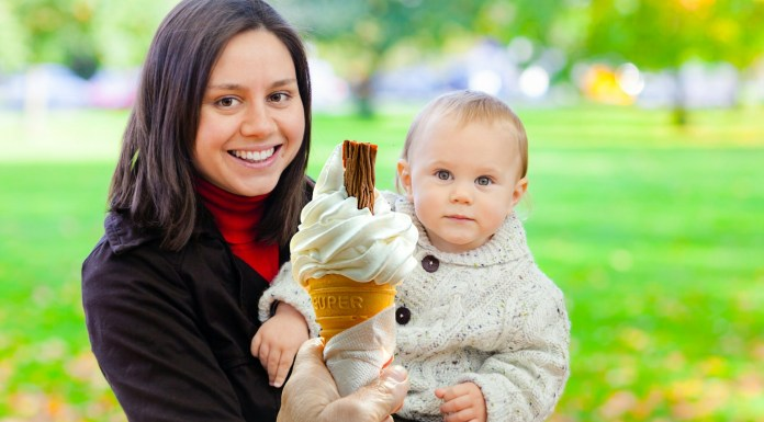 Mother and child eating ice cream