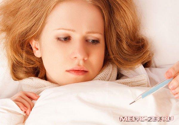 Женщина простужена