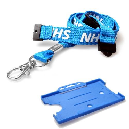 NHS Lanyard (Double Breakaway) with Light Blue Landscape Card Holder