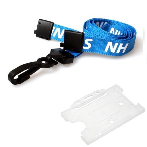 NHS Lanyard (J-Clip) with Clear Landscape Card Holder