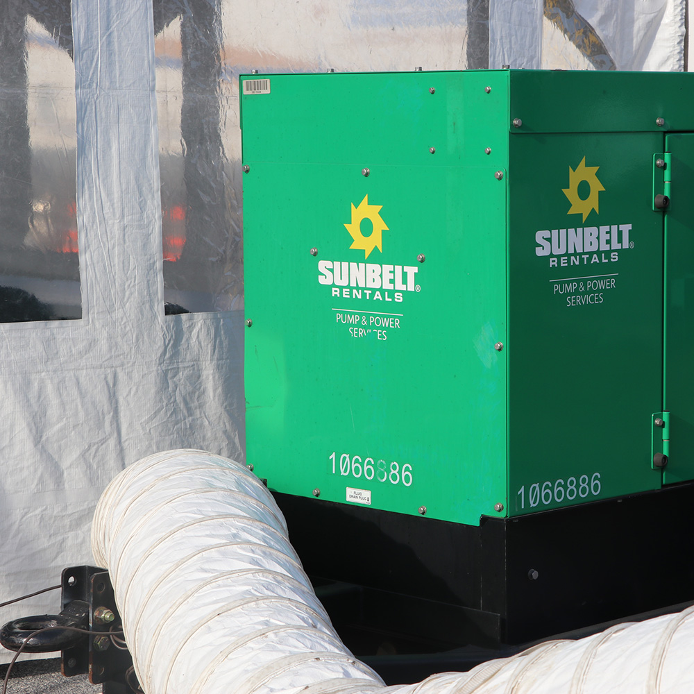 Generator Supplies Power for Tent