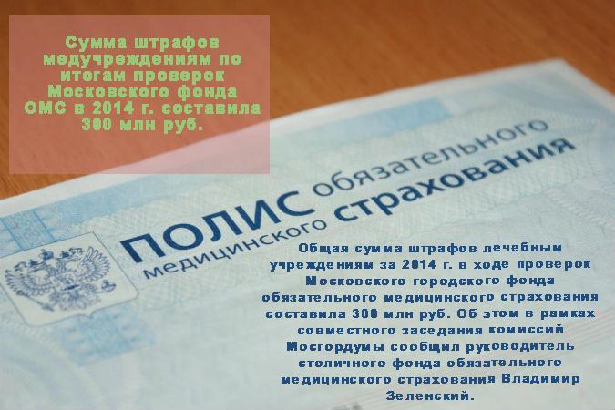 Сумма штрафов медучреждениям по итогам проверок Московского фонда ОМС в 2014 г. составила 300 млн руб.