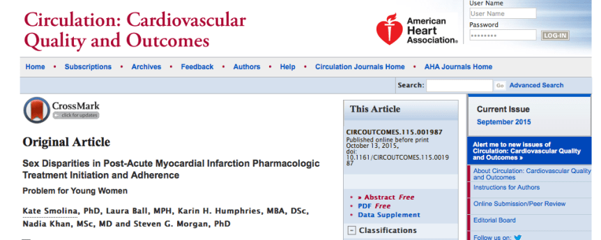 Smolina, Kate; Ball, Laura; Humphries, Karin H.; Khan, Nadia; Morgan, Steven G. (2015) Sex Disparities in Post-Acute Myocardial Infarction Pharmacologic Treatment Initiation and Adherence: Problem for Young Women // Circ Cardiovasc Qual Outcomes - p. CIRCOUTCOMES.115.001987