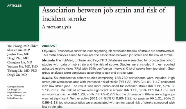 Huang, Yuli; Xu, Shuxian; Hua, Jinghai; Zhu, Dingji; Liu, Changhua et al. (2015) Association between job strain and risk of incident stroke: A meta-analysis // Neurology - p. WNL.0000000000002098