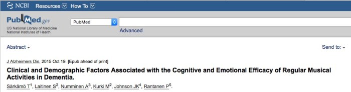 Särkämö T. et al. Clinical and Demographic Factors Associated with the Cognitive and Emotional Efficacy of Regular Musical Activities in Dementia //Journal of Alzheimer's Disease. – 2015. – №. Preprint. – С. 1-15.