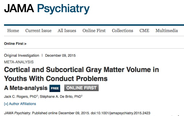 Rogers, Jack C.; Brito, Stéphane A. De Cortical and Subcortical Gray Matter Volume in Youths With Conduct Problems: A Meta-analysis // JAMA Psychiatry - p. 64-72