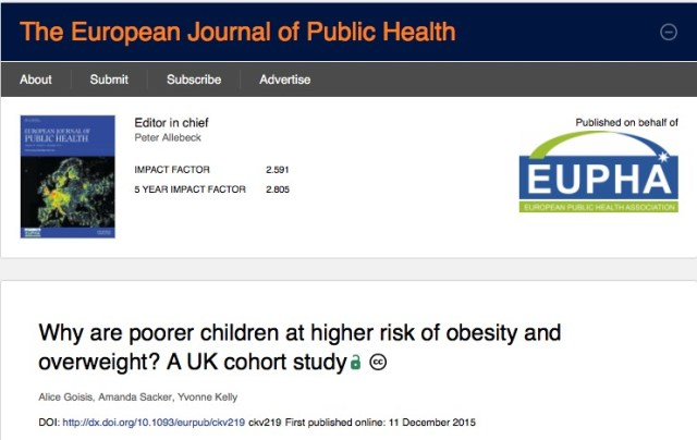 Goisis A., Sacker A., Kelly Y. Why are poorer children at higher risk of obesity and overweight? A UK cohort study //The European Journal of Public Health. – 2015.