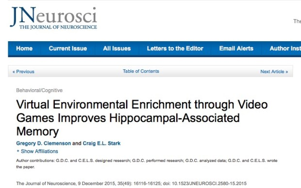 Gregory D. Clemenson and Craig E.L. Stark Virtual Environmental Enrichment through Video Games Improves Hippocampal-Associated Memory // The Journal of Neuroscience - 2015