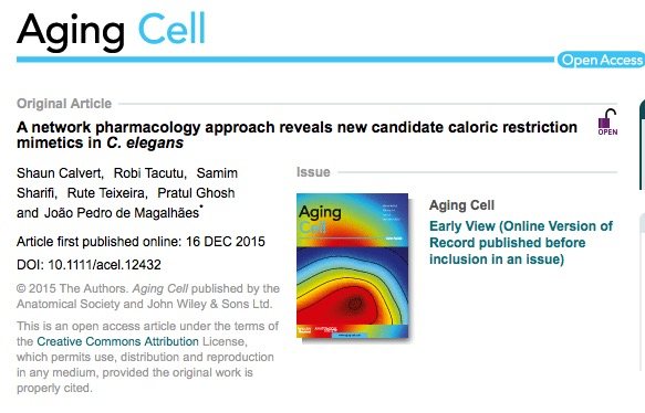 Calvert, Shaun; Tacutu, Robi; Sharifi, Samim; Teixeira, Rute; Ghosh, Pratul et al. (2015) A network pharmacology approach reveals new candidate caloric restriction mimetics in C. elegant // Aging Cell