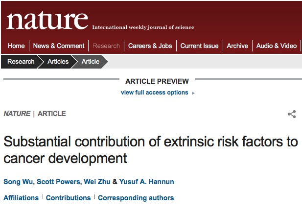 Song Wu et al. Substantial contribution of extrinsic risk factors to cancer development // Nature - 2015.