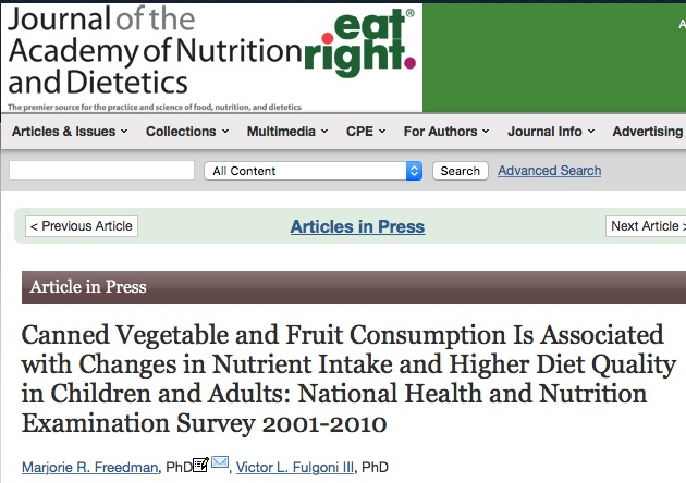 Freedman M. R., Fulgoni V. L. Canned Vegetable and Fruit Consumption Is Associated with Changes in Nutrient Intake and Higher Diet Quality in Children and Adults: National Health and Nutrition Examination Survey 2001-2010 //Journal of the Academy of Nutrition and Dietetics. – 2015.
