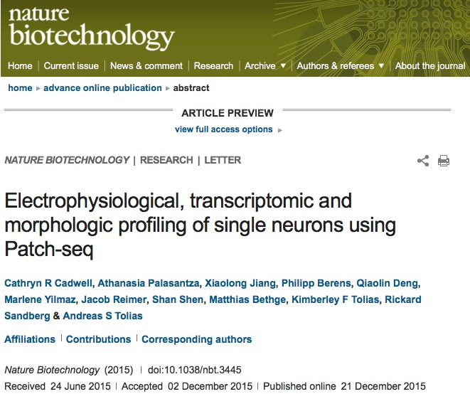 Cadwell, Cathryn R; Palasantza, Athanasia; Jiang, Xiaolong; Berens, Philipp; Deng, Qiaolin et al. (2015) Electrophysiological, transcriptomic and morphologic profiling of single neurons using Patch-seq // Nature Biotechnology