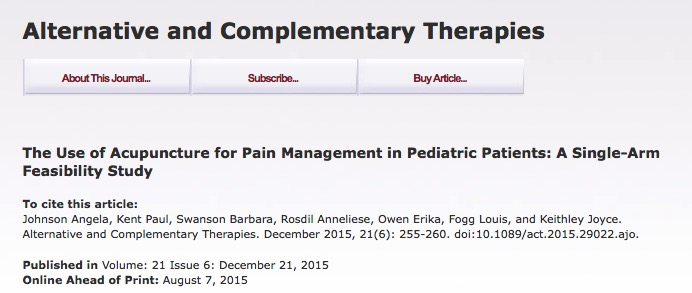 Johnson A. et al. The Use of Acupuncture for Pain Management in Pediatric Patients: A Single-Arm Feasibility Study //Alternative and Complementary Therapies.